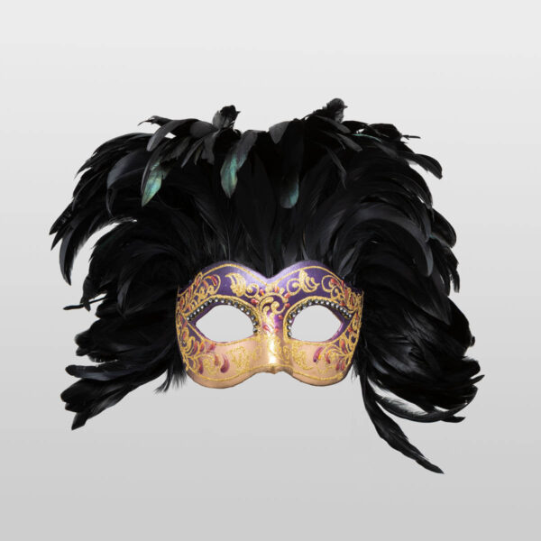 Colombina Fully Feathered - Violet Color - Venetian Mask