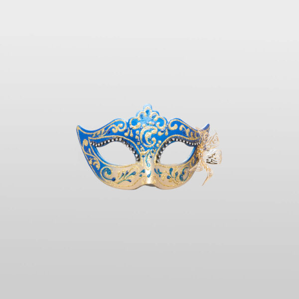 Colombina Mask - Blue Color - Papier Mache Flower Metal Strass - Venetian Mask