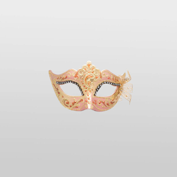 Colombina Mask - Bronze Color - Papier Mache Flower Metal Strass - Venetian Mask
