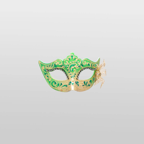 Colombina Mask - Green Color - Papier Mache Flower Metal Strass - Venetian Mask