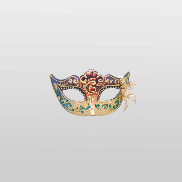 Colombina Mask - Multi Color - Papier Mache Flower Metal Strass - Venetian Mask