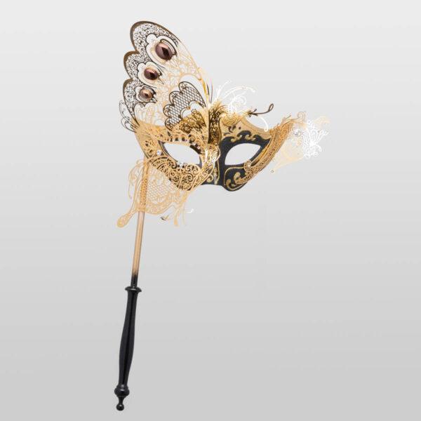Colombina avec demi papillon et bâton - Noir - Masque Vénitien