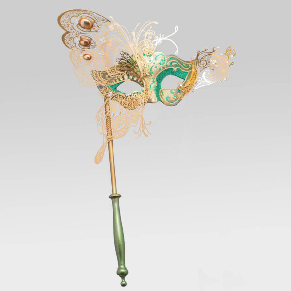 Colombina with half Butterfly and Stick - Green Color - Venetian Mask