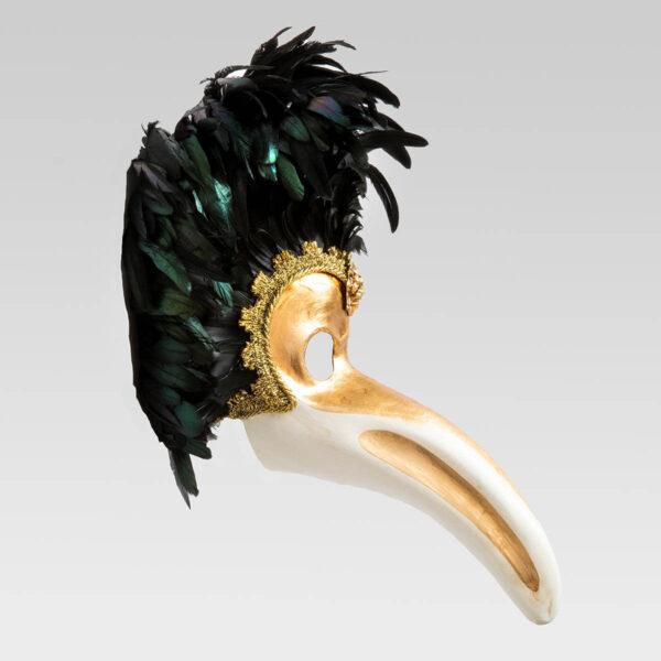Nasone Feathered in Papier Mache - Detail 1 - Venetian Mask