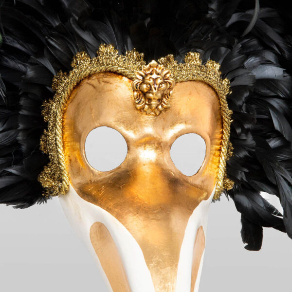 Nasone Feathered in Papier Mache - Detail 2 - Venetian Mask