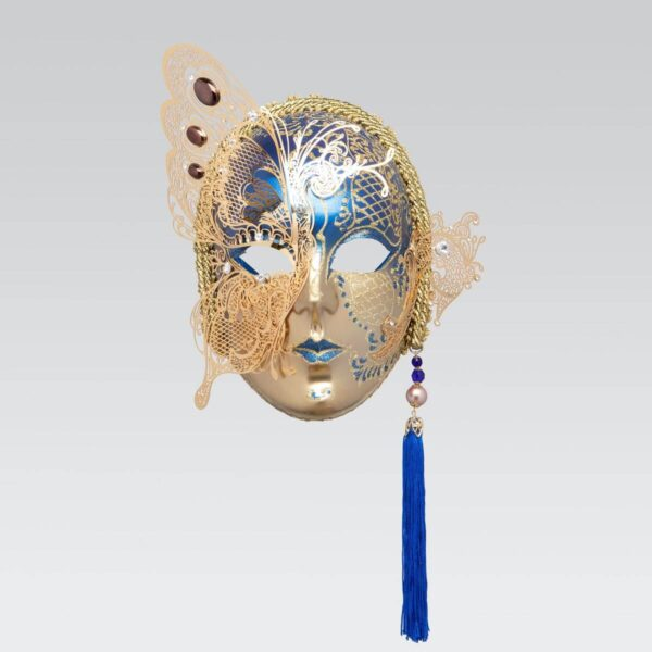 Face with Half Butterfly in Metal and Rhinestone - Blue Color - Venetian Mask