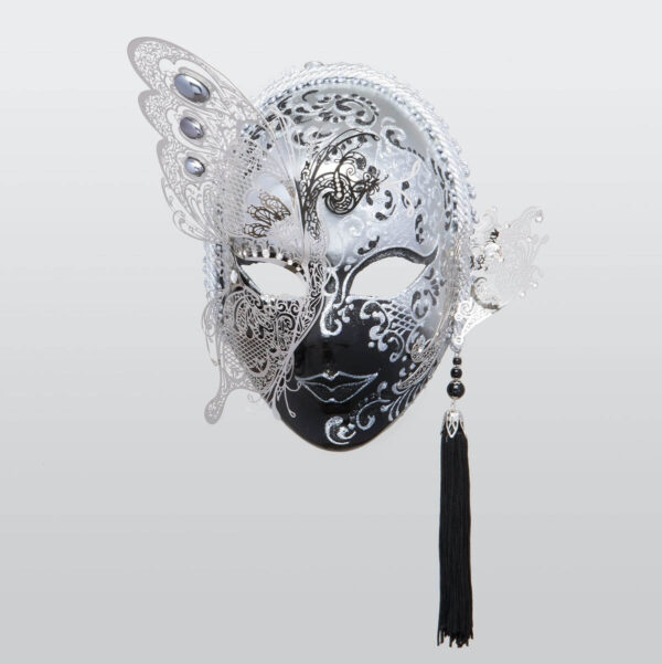 Face with Half Butterfly in Metal and Rhinestone - Silver Color - Venetian Mask
