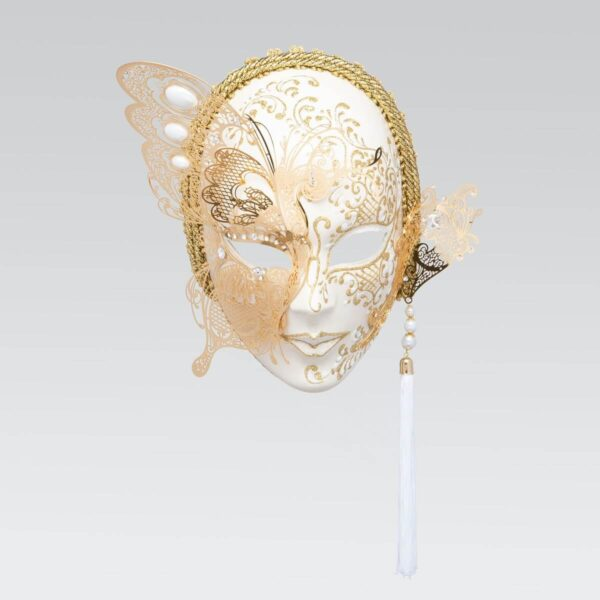 Face with Half Butterfly in Metal and Rhinestone - White Color - Venetian Mask