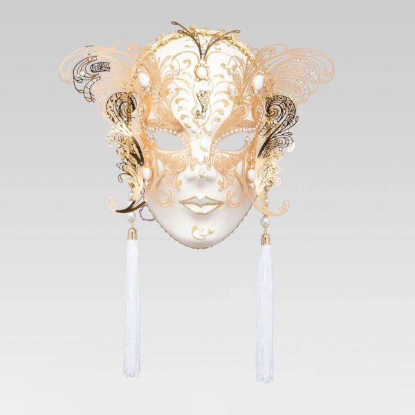 Face with two Wings in Metal and Rhinestone - White Color - Venetian Mask
