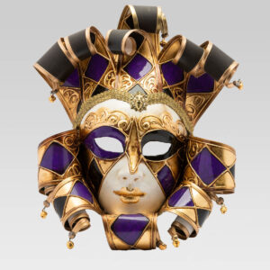 Jolly Donna Multicolor with Eleven Tips - Large Size - Violet - Venetian Mask