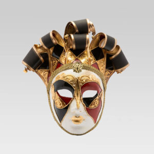 Jolly Donna Multicolor with Six Tips - Large Size - Red - Venetian Mask