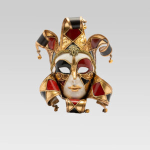 Jolly Donna Multicolor with Six Tips - Small Size - Red - Venetian Mask