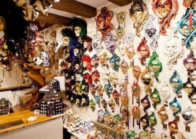 Variety of masks inside the Venezia Maschere mask shop in Venice