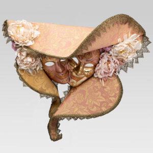 Dama Cappello Doppia Cartapesta - Pink Color - Venetian Mask