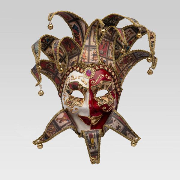 Jolly René Punte in Papier Mache - Tarot Style - Venetian Mask