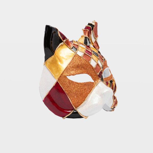 Chess Cat with Glitter - Bronze - Detail 2 -Venetian Mask