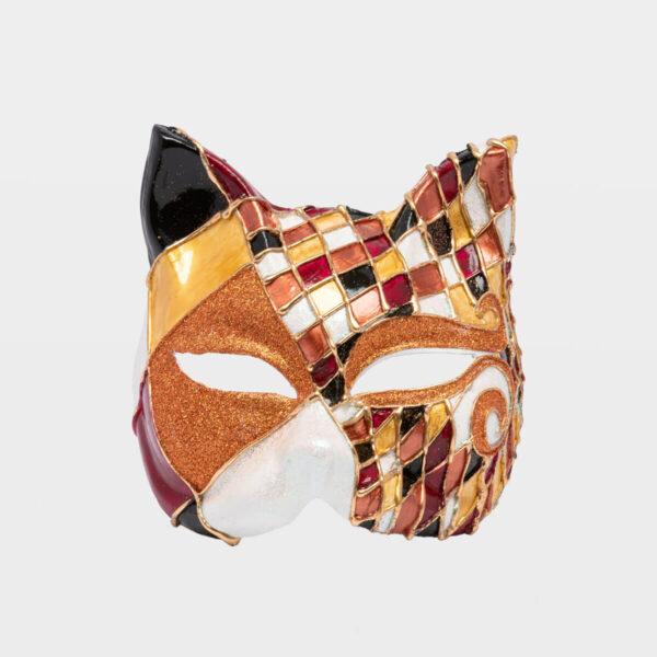 Chess Cat with Glitter - Bronze - Venetian Mask
