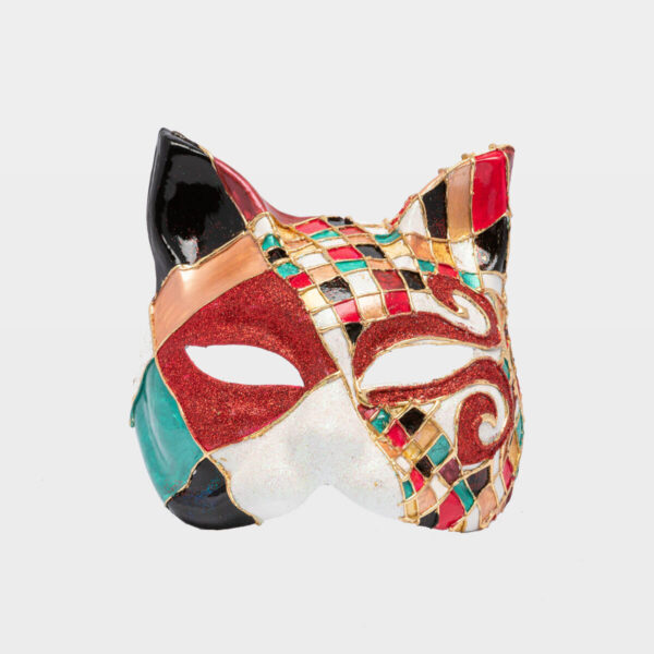 Chess Cat with Glitter - Red - Venetian Mask