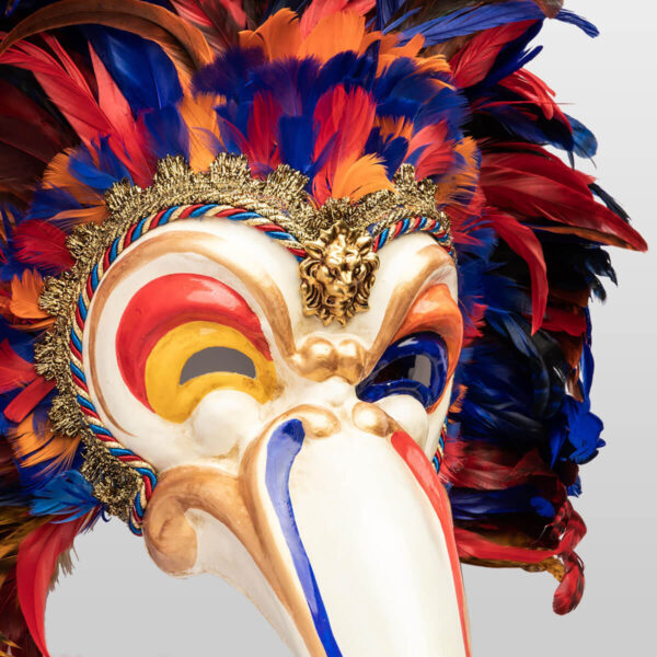Feathered Toucan in papier mache - Multicolor - Detail 2 - Venetian Mask