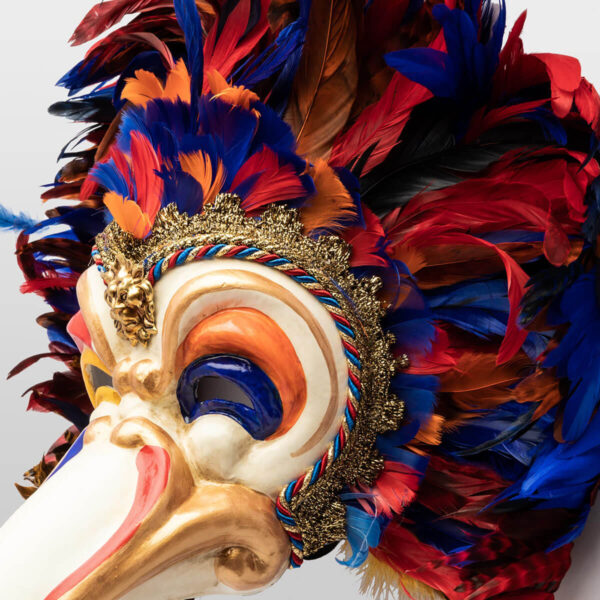 Feathered Toucan in papier mache - Multicolor - Detail 3 - Venetian Mask