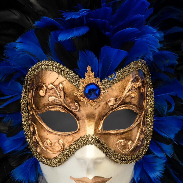 Piuma Volto intero - Blue - Detail 2 - Venetian Mask