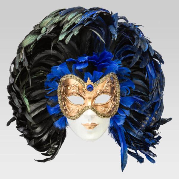 Piuma Volto intero - Blue - Venetian Mask