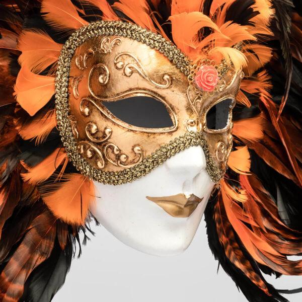 Piuma Volto intero - Orange - Detail 1 - Venetian Mask