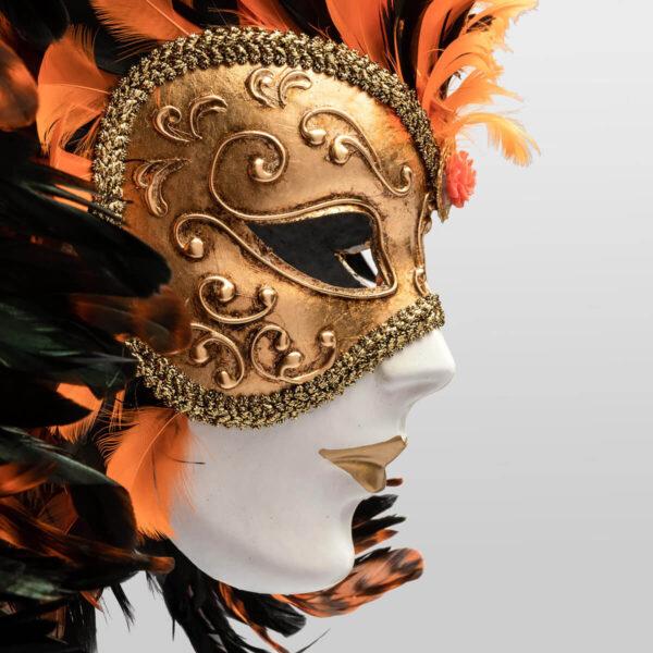 Piuma Volto intero - Orange - Detail 2 - Venetian Mask