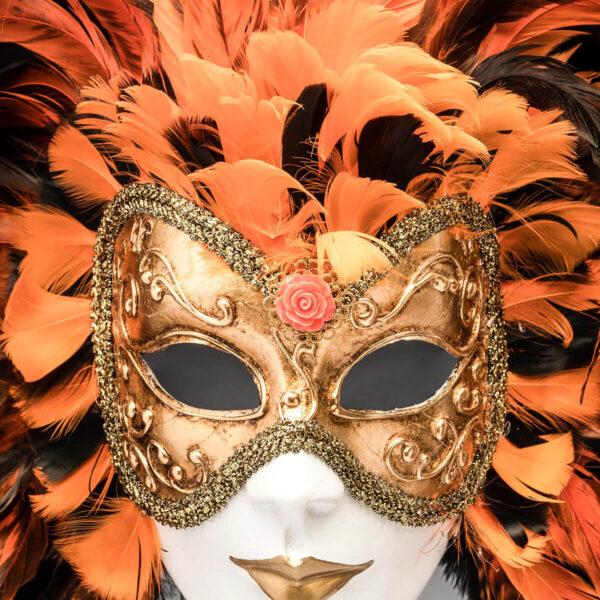 Piuma Volto intero - Orange - Detail 3 - Venetian Mask