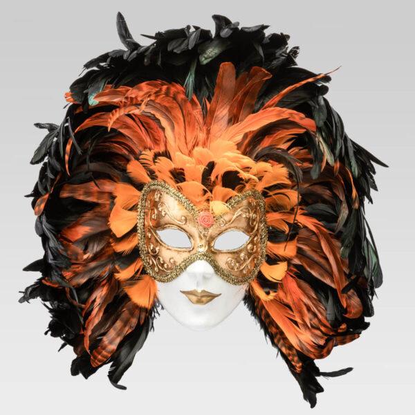 Piuma Volto intero - Orange - Venetian Mask